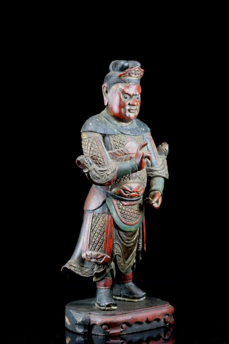 Chinese Ming Lacquered Wood Guardian - Albert Gallatin - 4