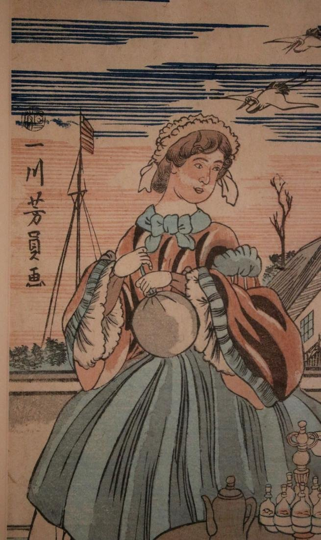 Japanese Wood Block Print depicting French Couple - - 4