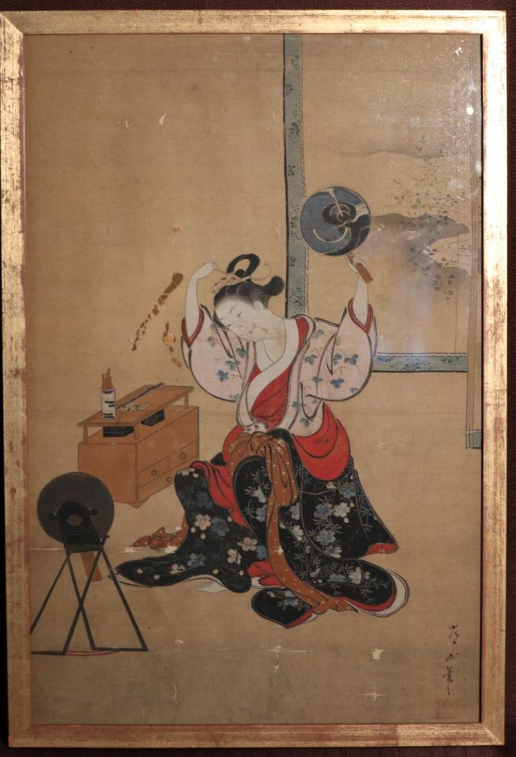 Rare Ukiyo-e Painting on Silk by Kawamata Tsunemasa