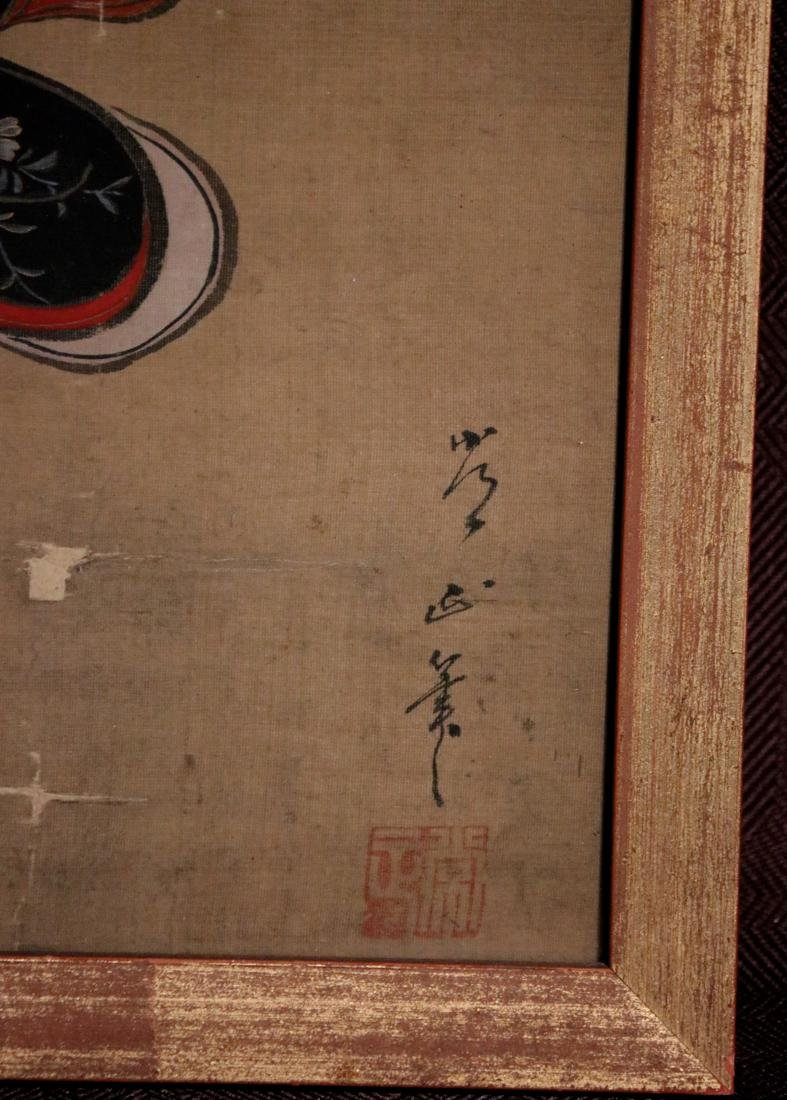 Rare Ukiyo-e Painting on Silk by Kawamata Tsunemasa - 2