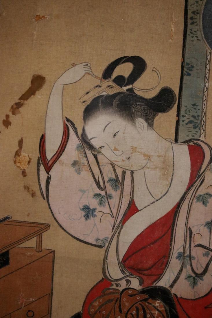 Rare Ukiyo-e Painting on Silk by Kawamata Tsunemasa - 3