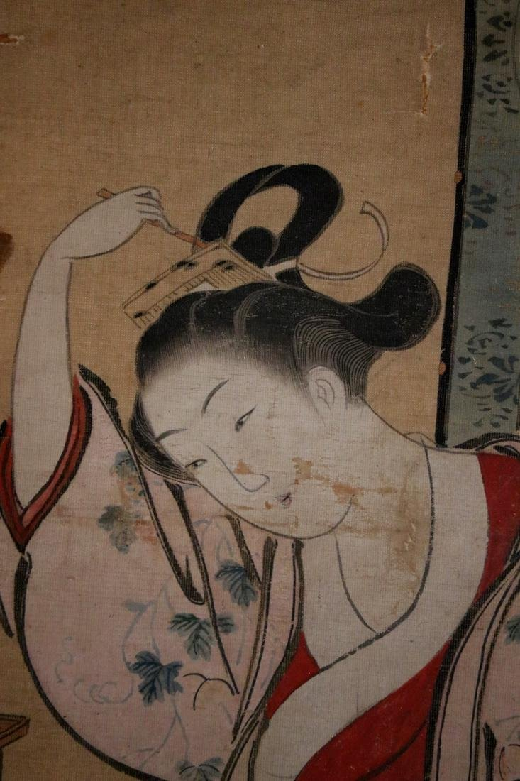 Rare Ukiyo-e Painting on Silk by Kawamata Tsunemasa - 4