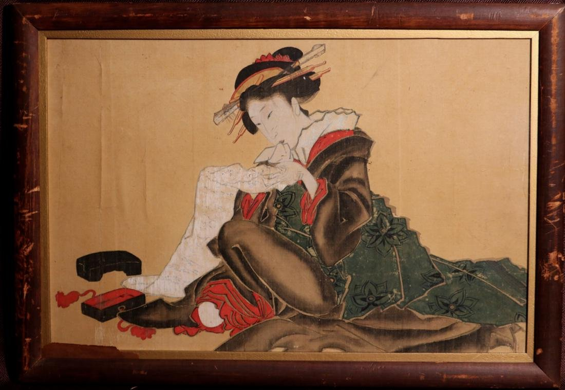 Rare Ukiyo-e Painting on Silk of a Geisha - Unsigned -