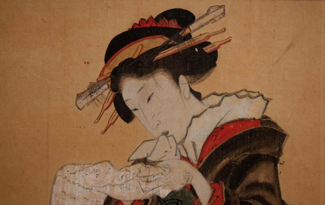 Rare Ukiyo-e Painting on Silk of a Geisha - Unsigned - - 2