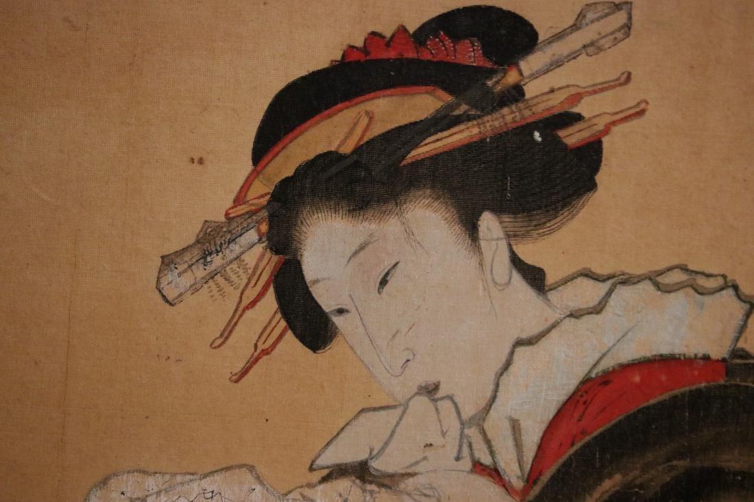 Rare Ukiyo-e Painting on Silk of a Geisha - Unsigned - - 3