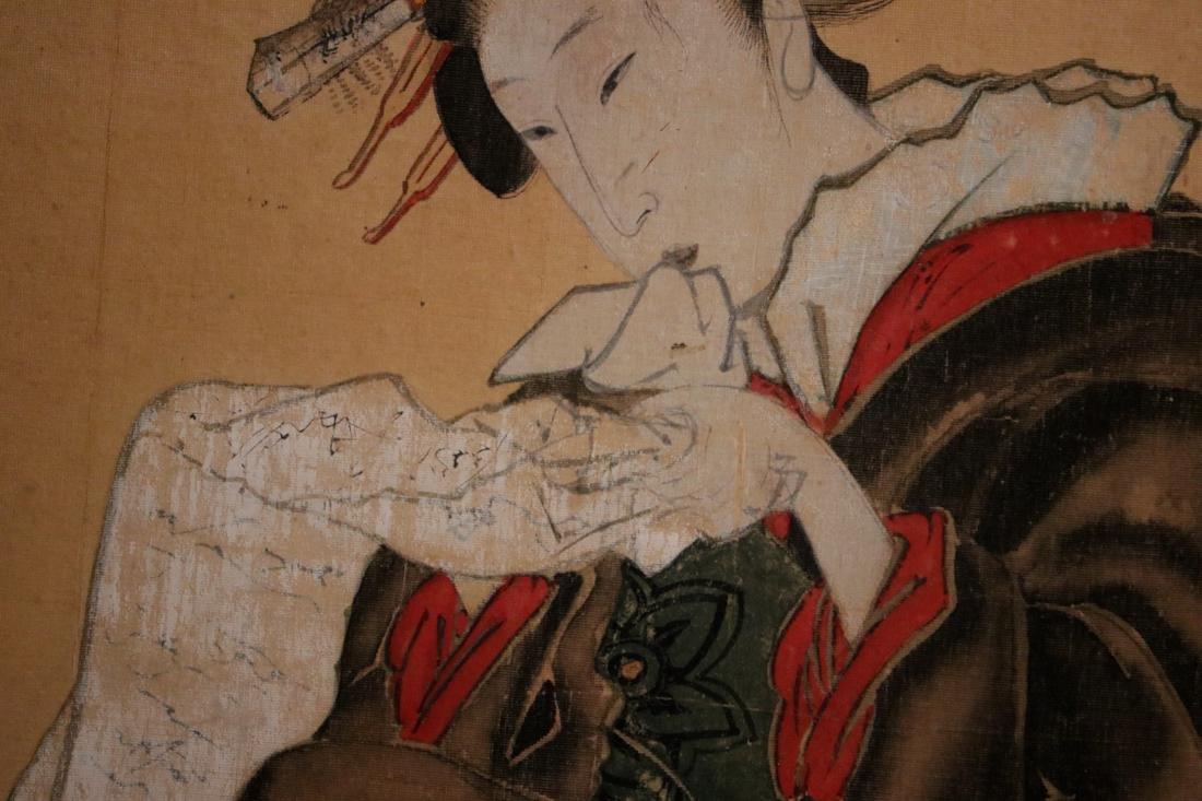 Rare Ukiyo-e Painting on Silk of a Geisha - Unsigned - - 4