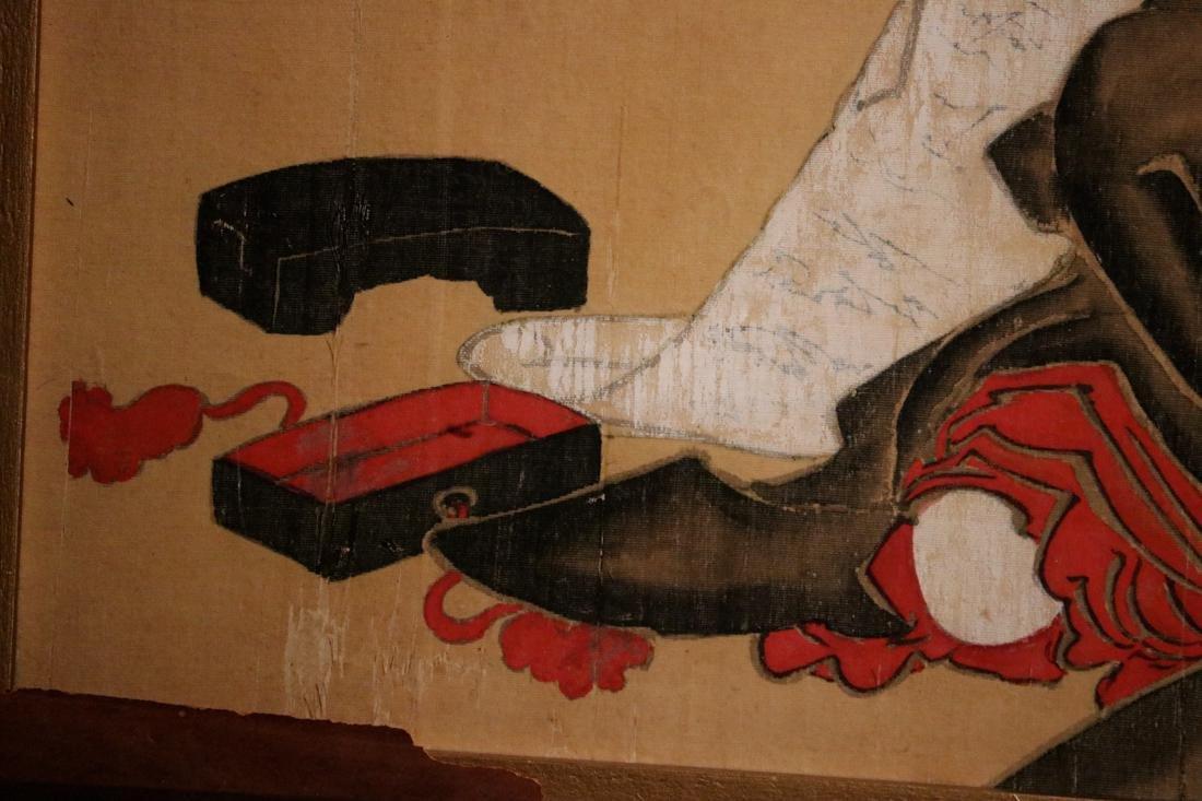 Rare Ukiyo-e Painting on Silk of a Geisha - Unsigned - - 5