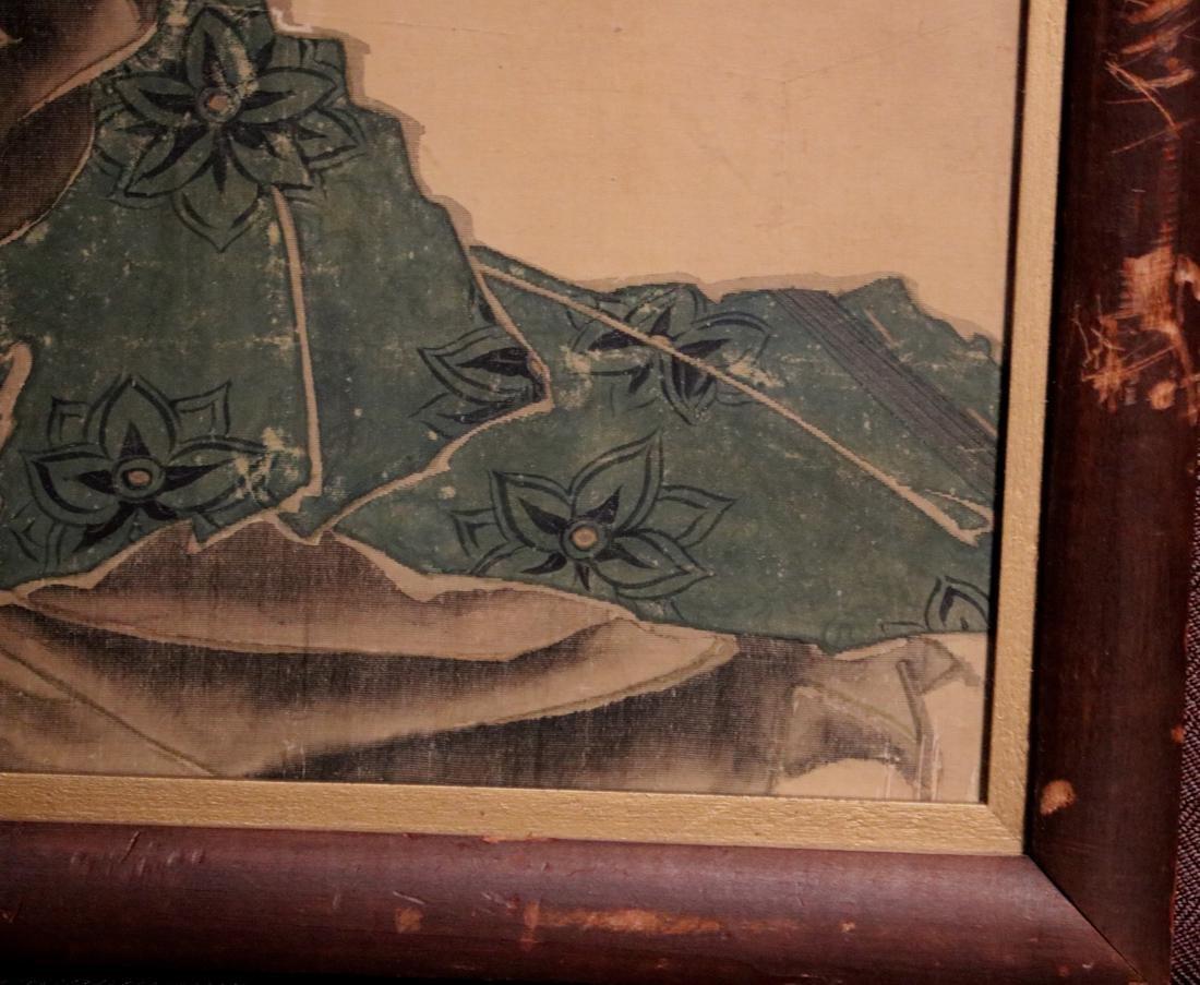 Rare Ukiyo-e Painting on Silk of a Geisha - Unsigned - - 6