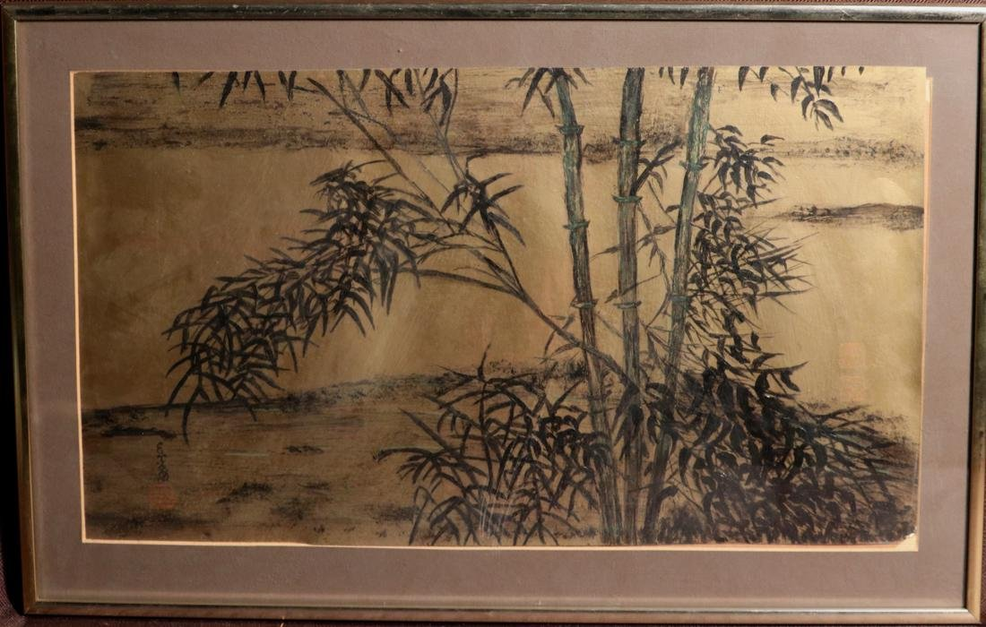 Chinese Painting of Bamboo on Gold Paper - Albert