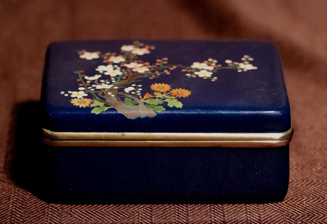 Japanese Blue Cloisonne Box with Floral Scene - Albert