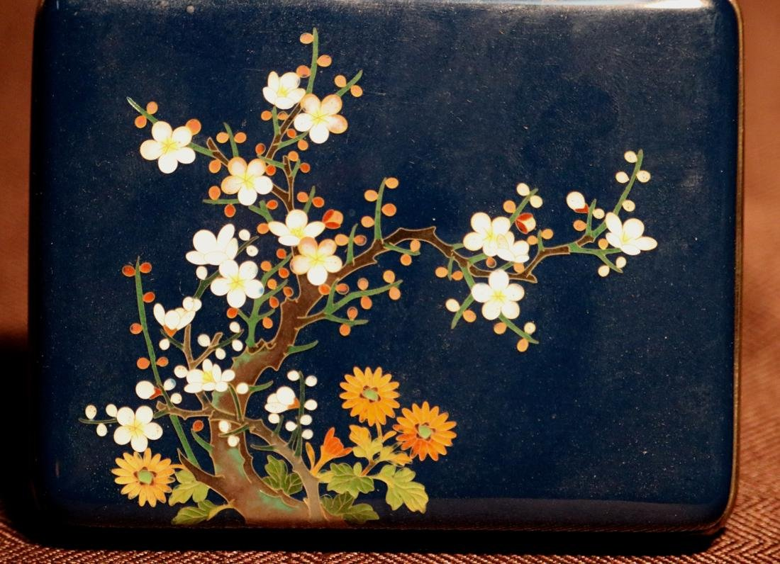Japanese Blue Cloisonne Box with Floral Scene - Albert - 2