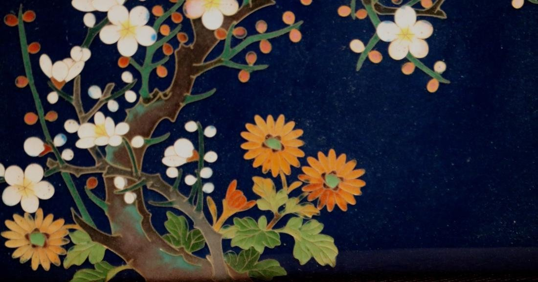 Japanese Blue Cloisonne Box with Floral Scene - Albert - 3