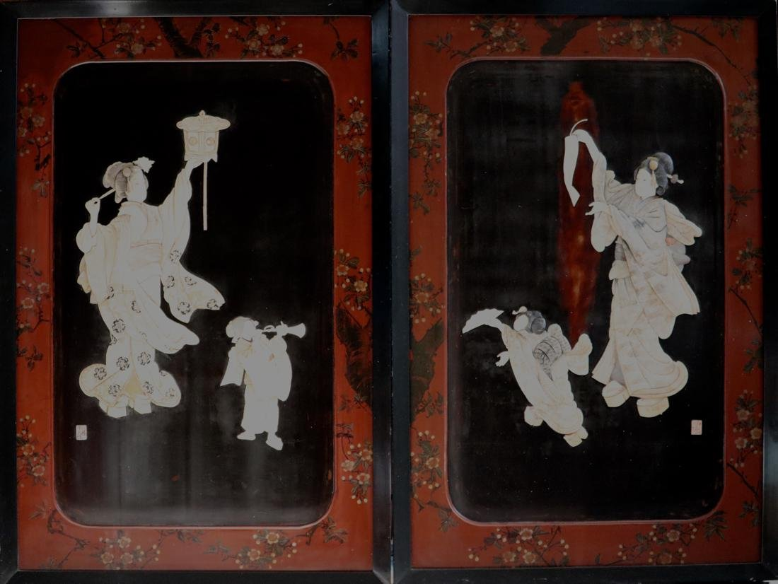 Large Pair Japanese Panel with Fugurine Scene