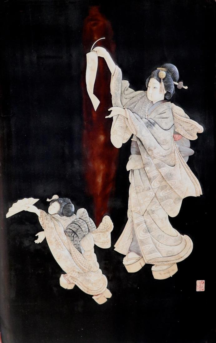 Large Pair Japanese Panel with Fugurine Scene - 2