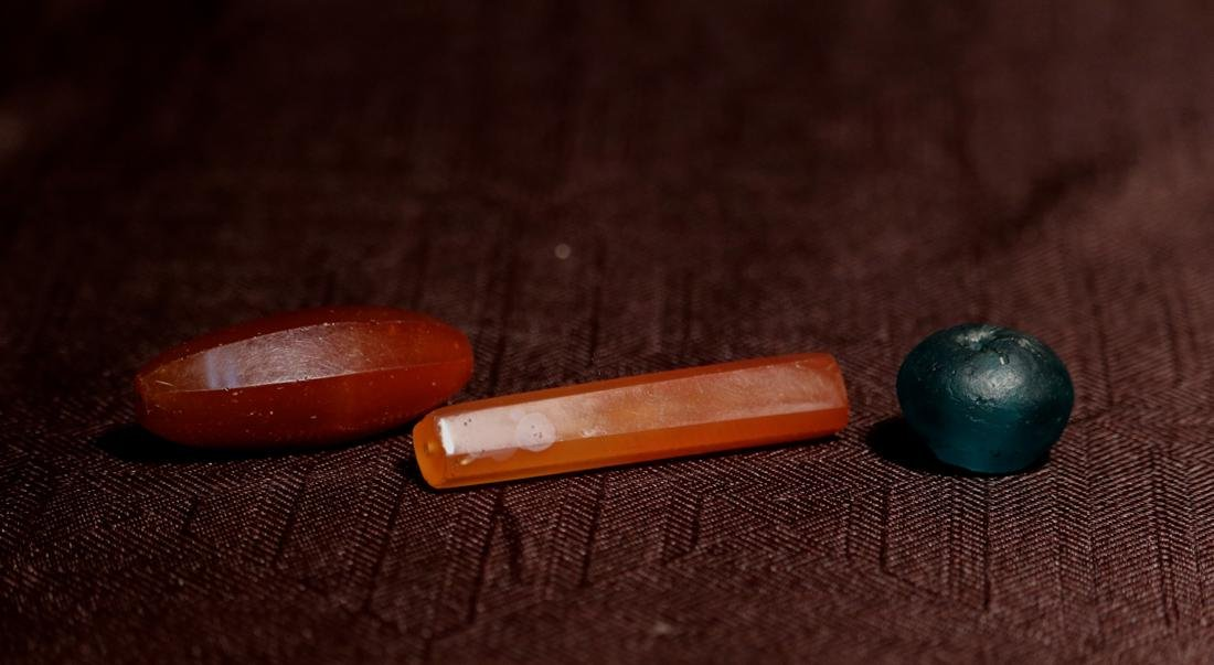 Three Antique Agate and Glass Beads - Albert Gallatin