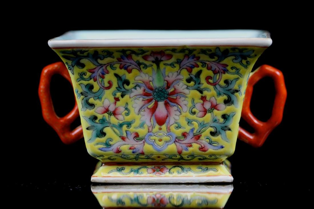 Chinese Famille Rose Porcelain Cup with Two Handle