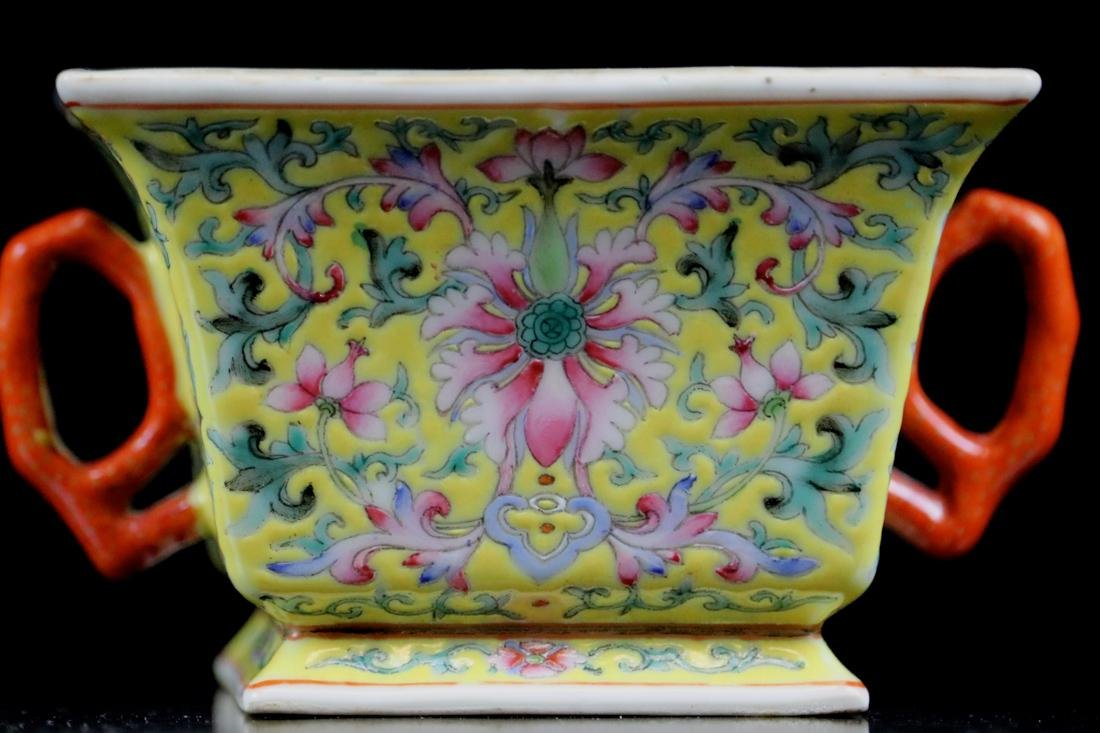 Chinese Famille Rose Porcelain Cup with Two Handle - 2