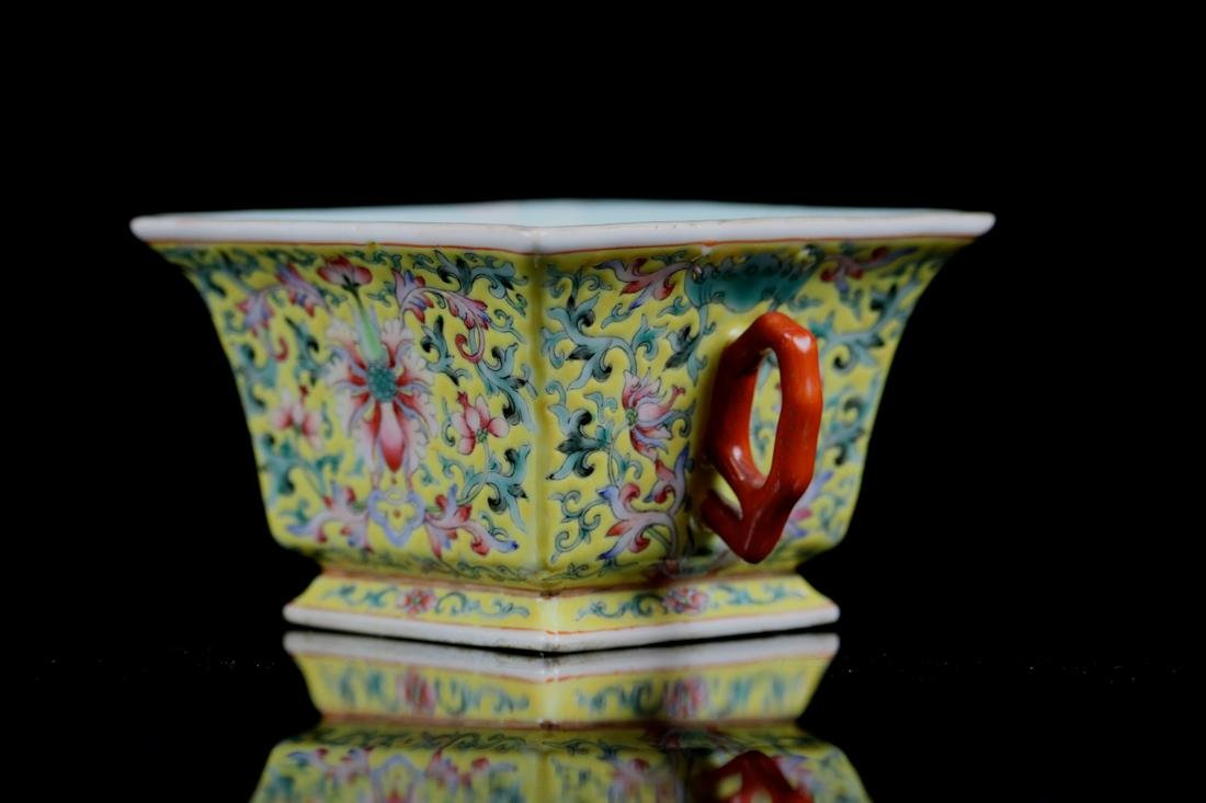 Chinese Famille Rose Porcelain Cup with Two Handle - 3