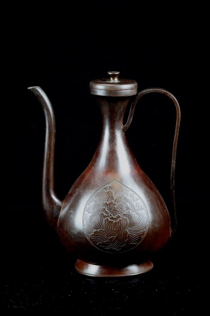 Japanese Bronze Ewer with Floral Motif - Signed By