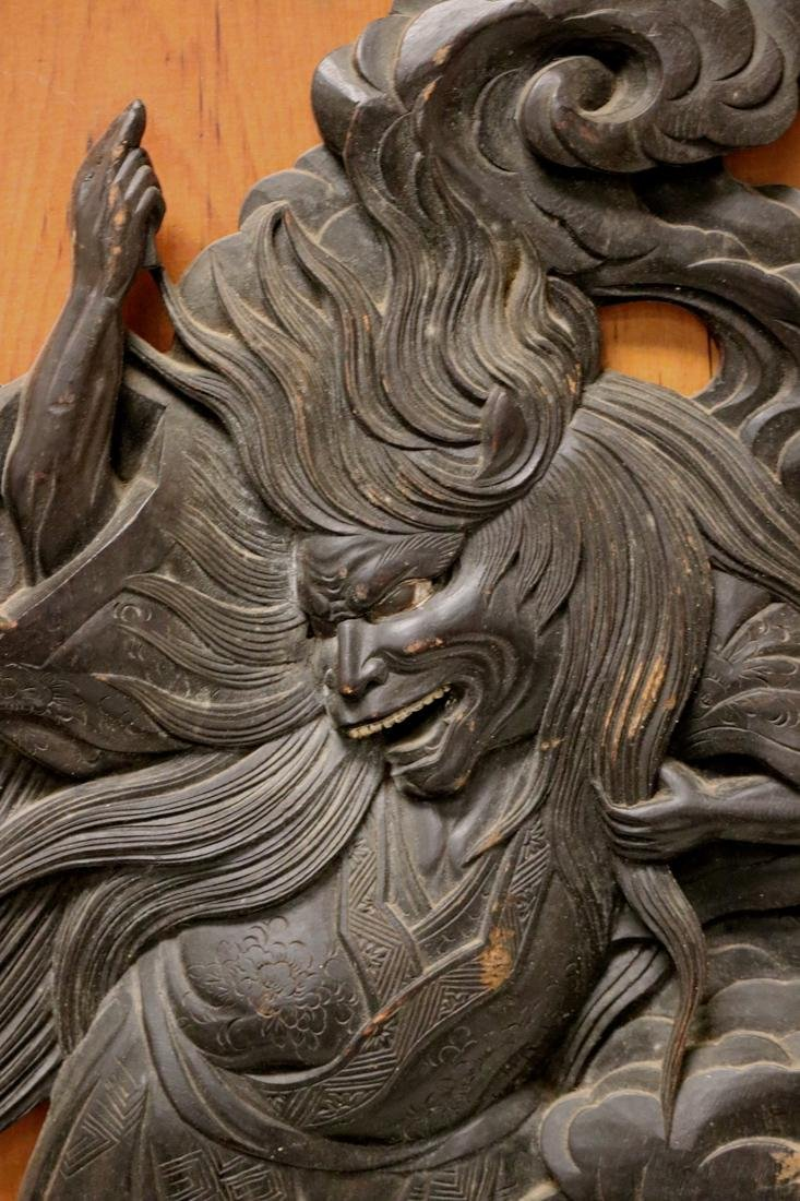 Japanese Carved Wood Panel with High Releif Figurine - 2