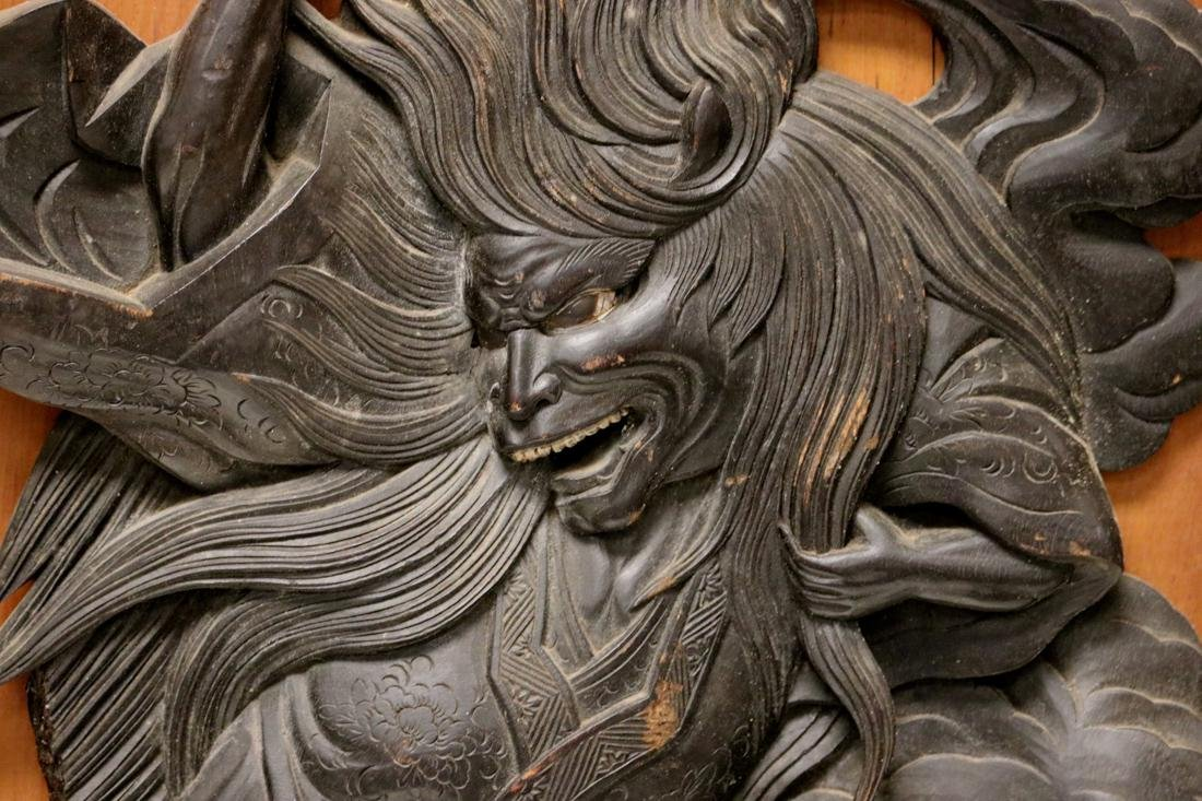 Japanese Carved Wood Panel with High Releif Figurine - 4