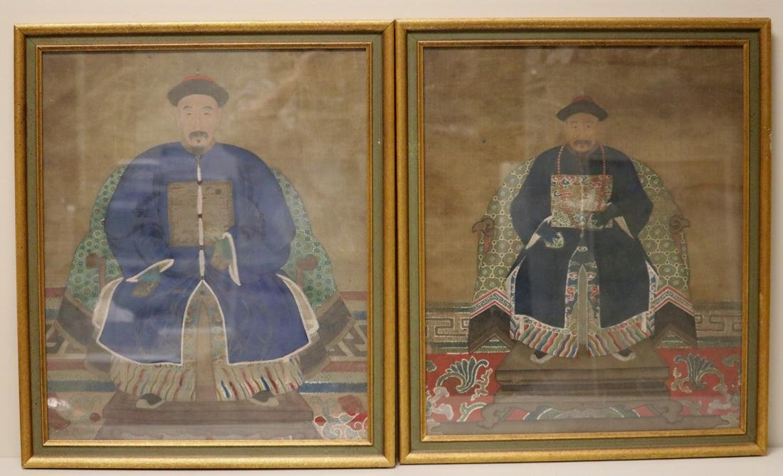 Pair Chinese Officer Portrait Paintings