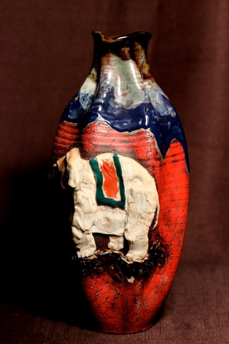 Japanese Sumida Gawa Porcelain Vase with Elephane - 4