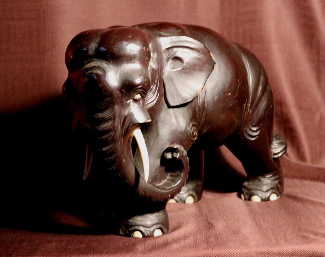 Japanese Wood Elephane with Black Lacquer - 3