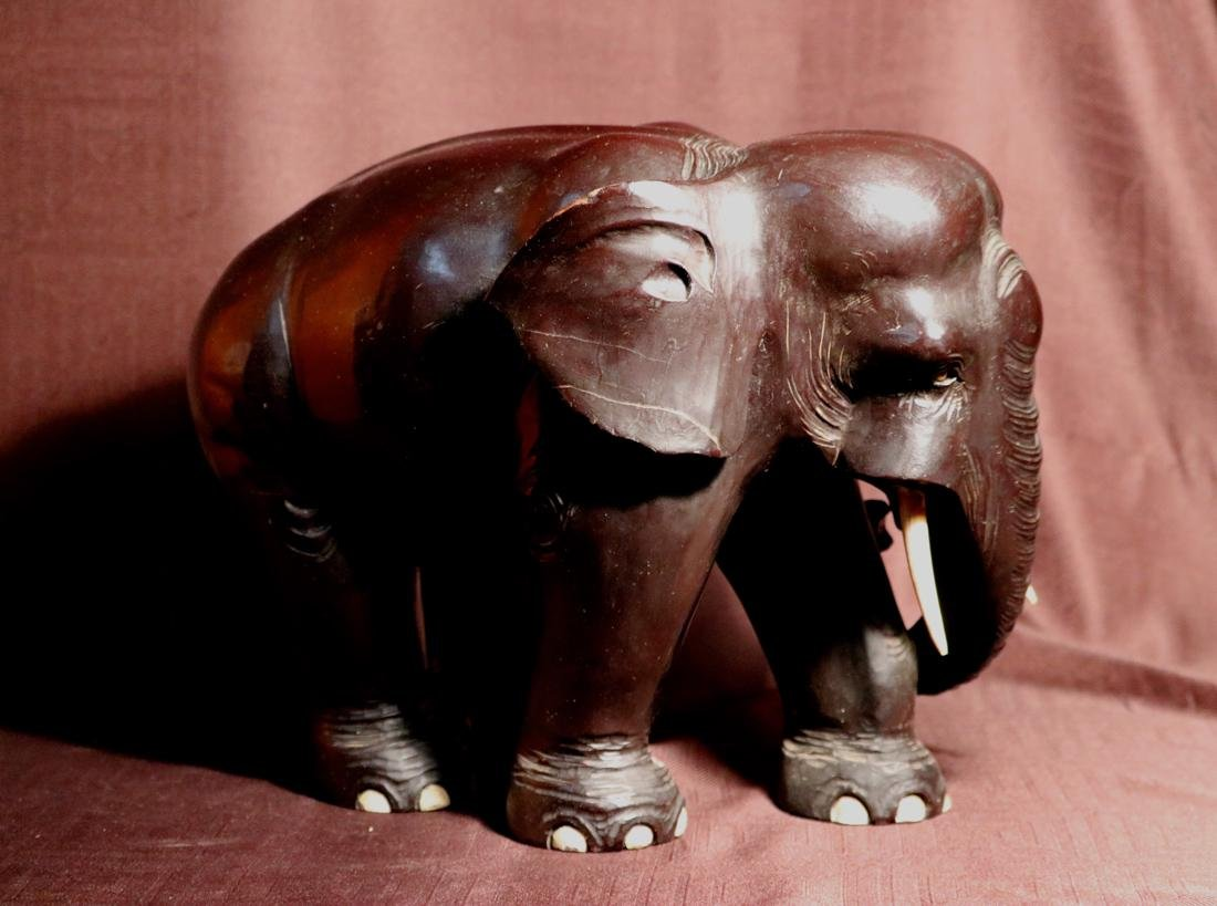 Japanese Wood Elephane with Black Lacquer - 5