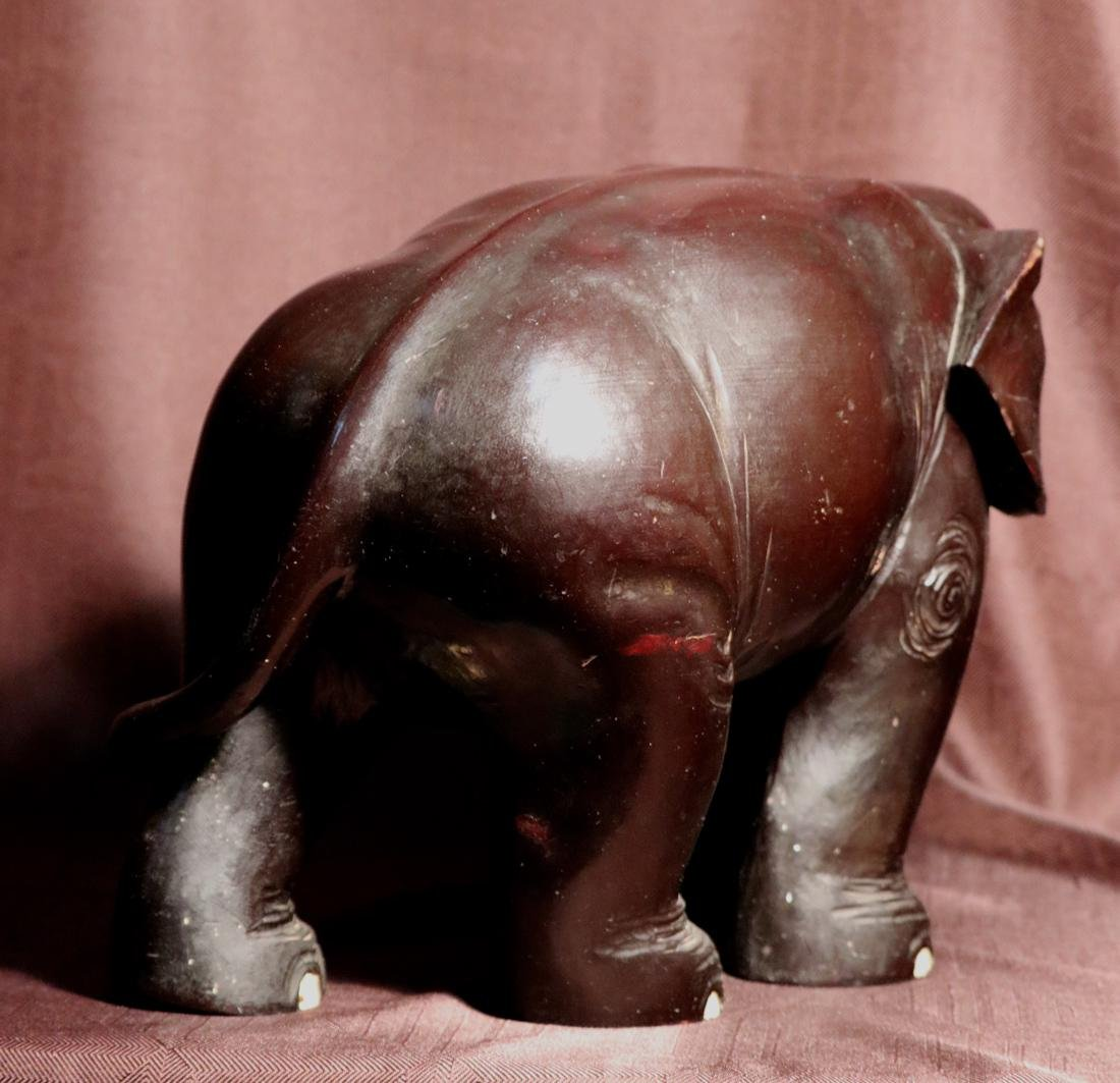 Japanese Wood Elephane with Black Lacquer - 8