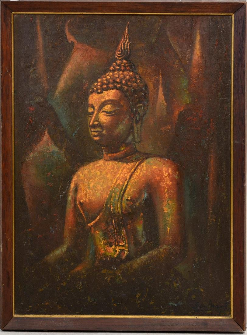 Oriental Oil Painting of a Buddha