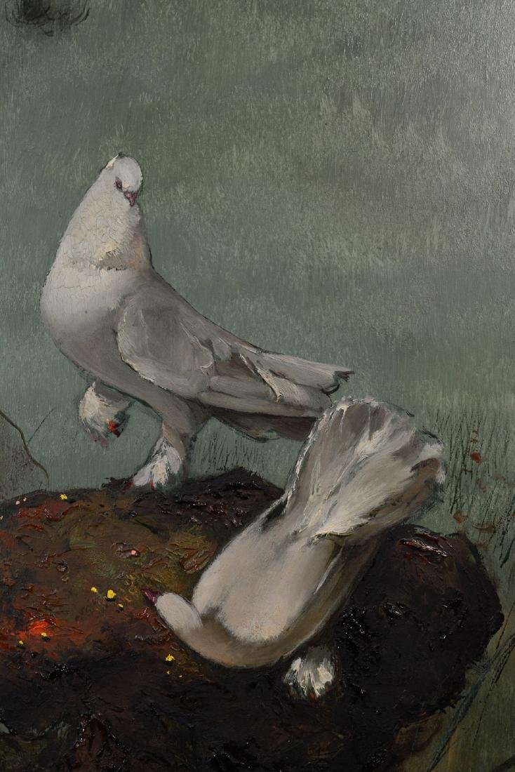 Japanese Oil on Board - Pigeon - 6