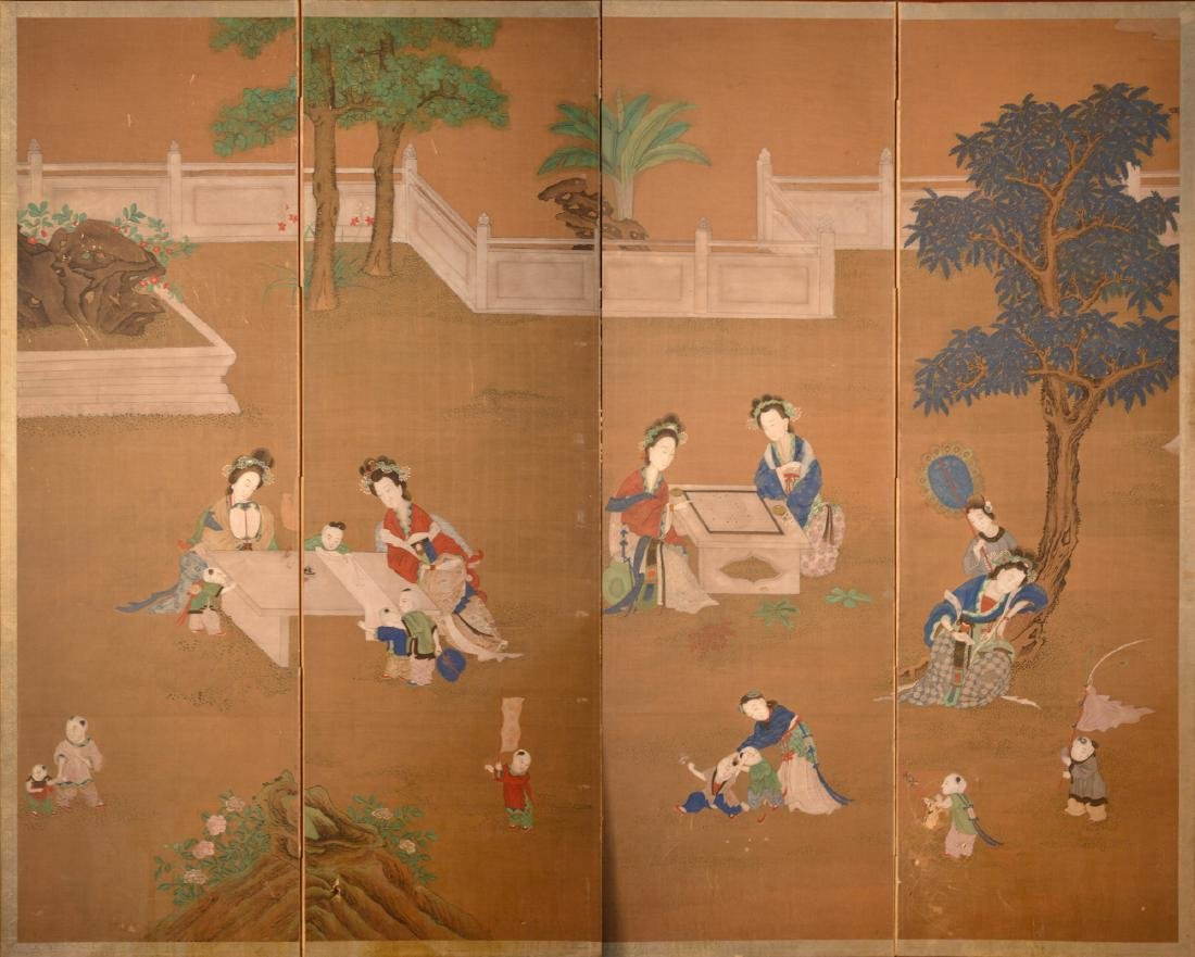 Four Panel Chinese Scroll Painting Floor Screen