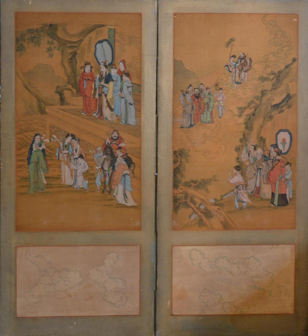 Two Chinese Painting Panel - figural Scene