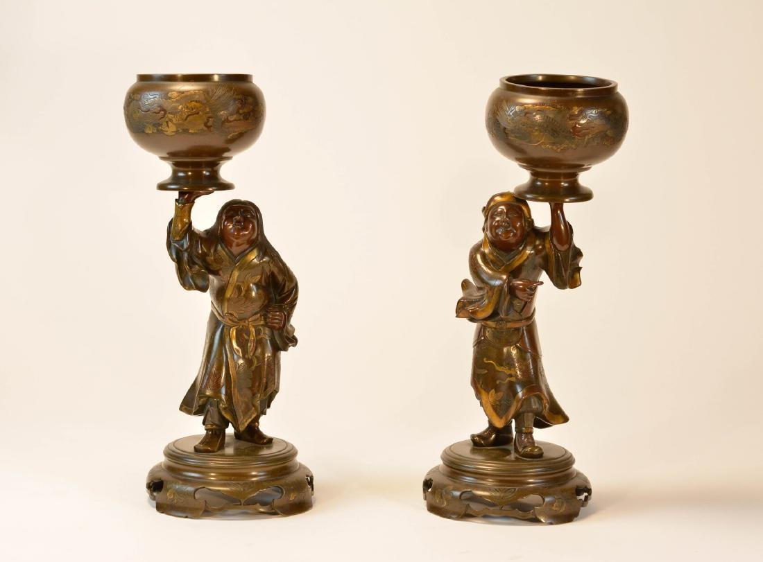 Pair Japanese Mixed Metal Bronze Figurines