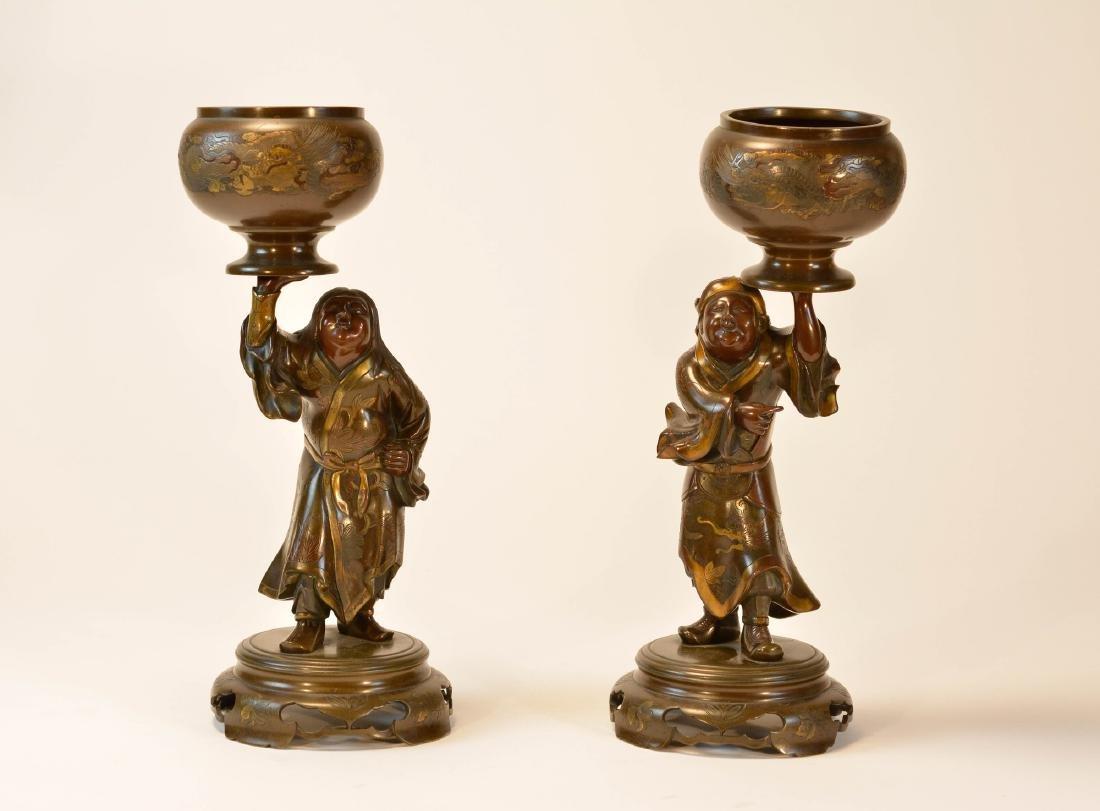 Pair Japanese Mixed Metal Bronze Figurines
