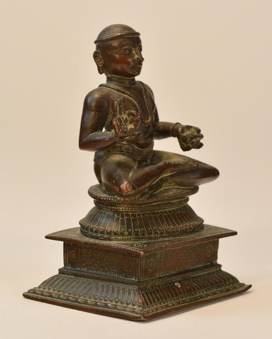 Seated Indian Bronze Priest - 2