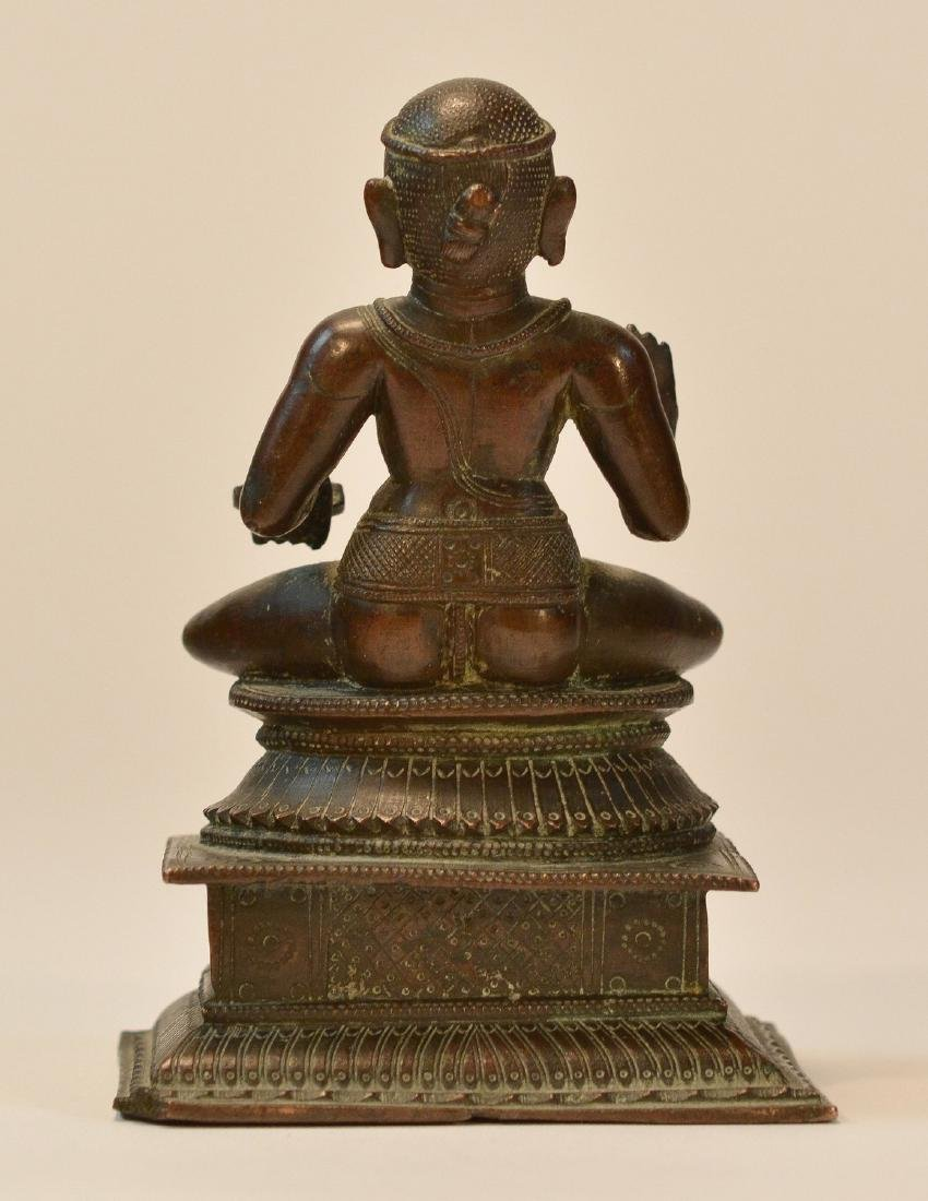 Seated Indian Bronze Priest - 3
