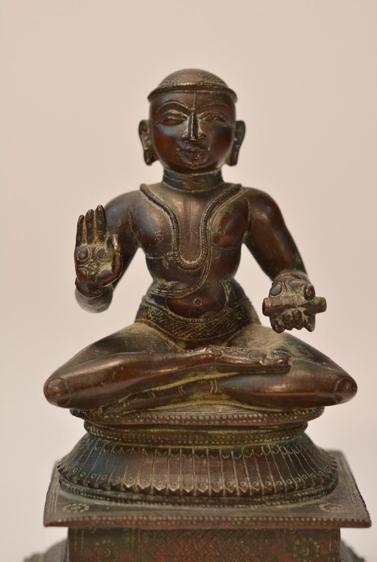Seated Indian Bronze Priest - 4