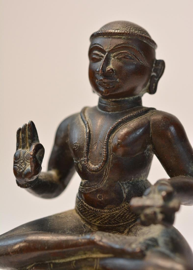 Seated Indian Bronze Priest - 6