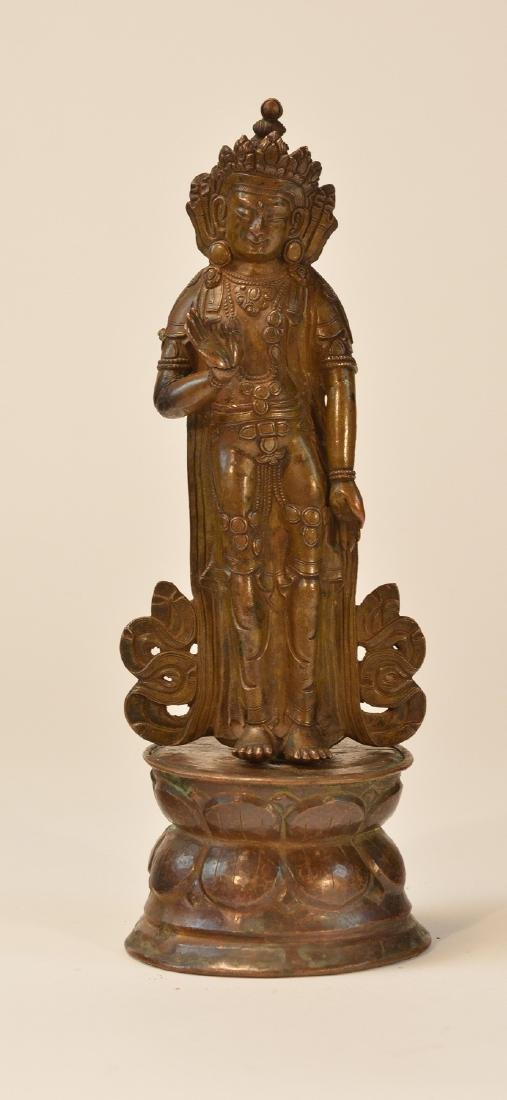 Tibet Bronze Standing Diety