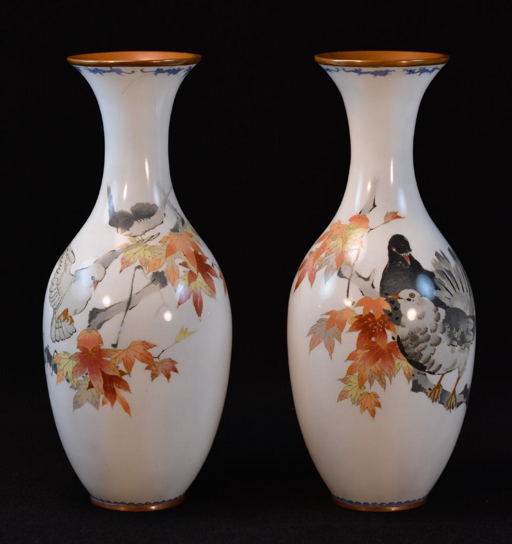 Pair Japanese Cloisonne Vases - pigeons