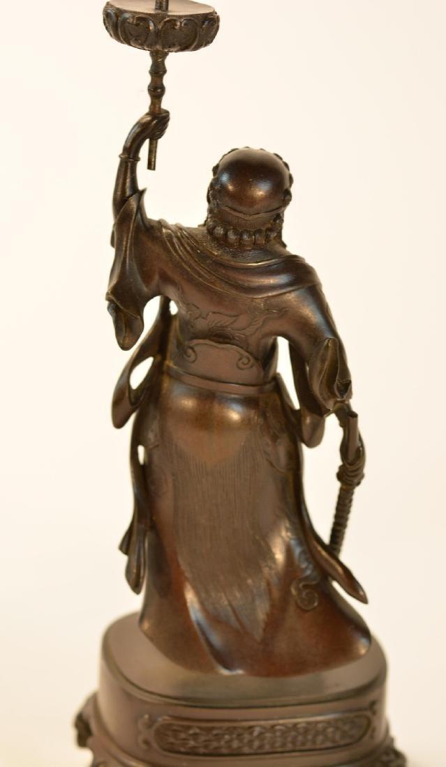 Pair Japanese Bronze Guardian Okimono on Stand - 10