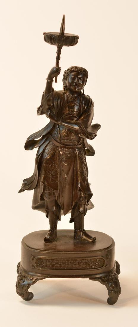 Pair Japanese Bronze Guardian Okimono on Stand - 2