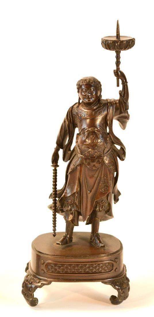 Pair Japanese Bronze Guardian Okimono on Stand - 3