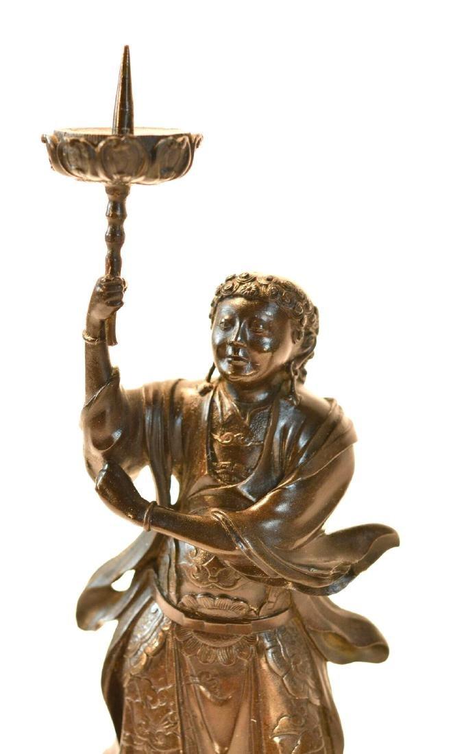 Pair Japanese Bronze Guardian Okimono on Stand - 4