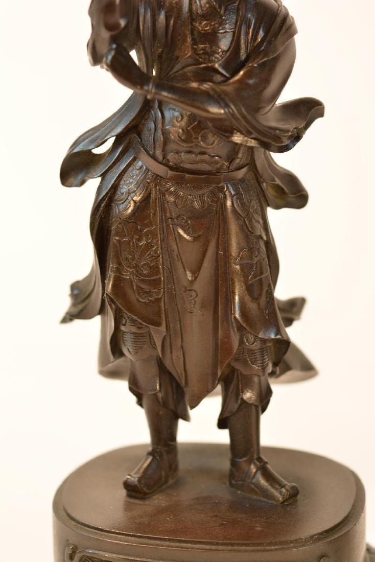 Pair Japanese Bronze Guardian Okimono on Stand - 5