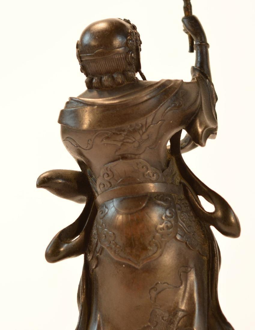 Pair Japanese Bronze Guardian Okimono on Stand - 8