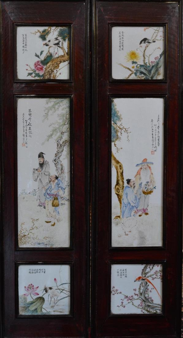 Pair Chinese Porcelain Wall Panels