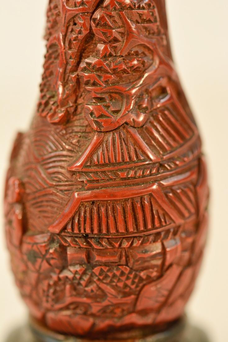 Chinese Cinnebar Vase with Base - 2